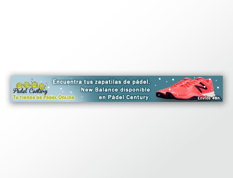 Banner campaña navidad para padel centruty: Promoción producto New Balance